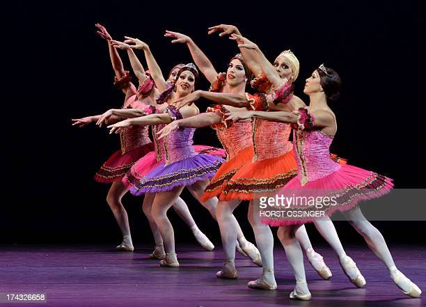 Dancers of the ballet company Les Ballets Trockadero de Monte Carlo dance during a press call in occasion of the German premiere at the Rhine Opera...