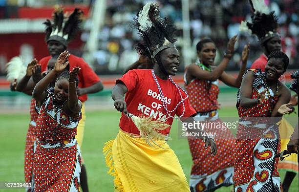 Dancers of the Bomas in Kenya dance during commemorations of Kenya's 47th Independence anniversary on December 12 2010 at the Nyayo national stadium...