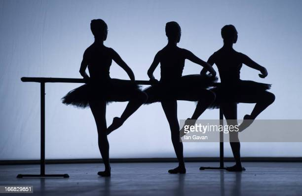 Dancers of the English National Ballet perform on stage during a dress rehearsal of 'Ecstasy and Death' at the Coliseum on April 17 2013 in London...