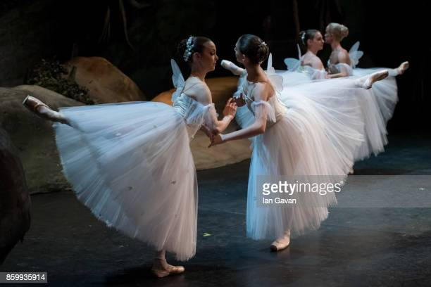 Dancers of the English National Ballet perform on stage during the dress rehearsal of Song of the Earth / La Sylphide at the Manchester Palace...
