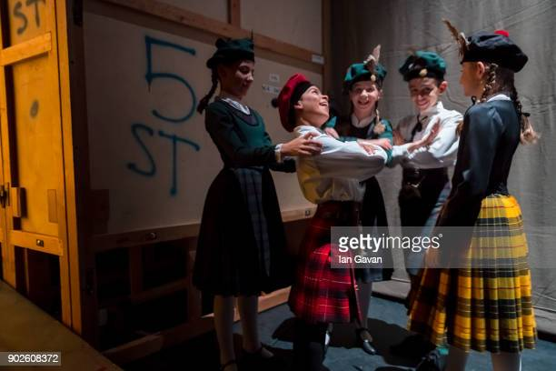 Dancers of the English National Ballet prepare in the wings before performing Song of the Earth and La Syliphide at the Palace Theatre Manchester on...