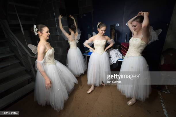 Dancers of the English National Ballet waits in the wings before performing Song of the Earth and La Syliphide at the Palace Theatre Manchester on...