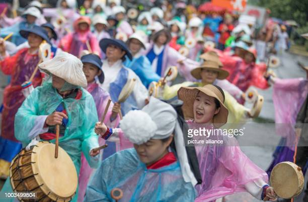 Dancers of the formation 'Love Korea Koreanischer Verein' participate in the 22nd Carnival of Cultures in Berlin Germany 4 June 2017 According to the...
