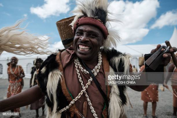 Dancers of the Kikuyu tribe perform at the construction site of Standard Gauge Railway during the Presidential Inspection of the SGR NairobiNaivasha...