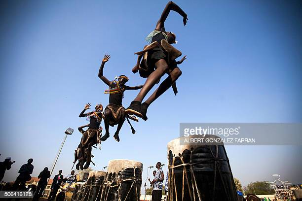 TOPSHOT Dancers of the local band Orupaap perform at the Juba Stadium as part of the closing ceremony of the National Unity Day events in Juba South...