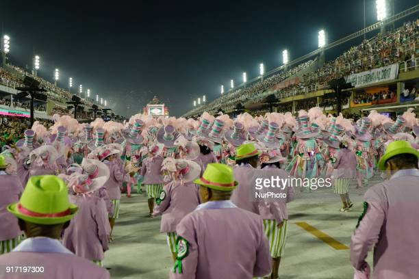 Dancers of the Mangueira samba school perform at the carnival parade in Sapucai Sambadrome in Rio de Janeiro Brazil on January 12 2018