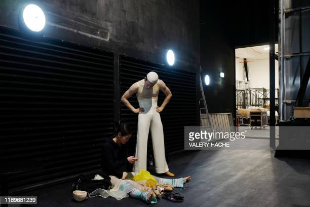 Dancers of the MonteCarlo ballet attend in the backstage the rehearsal of the ballet show CoppeliA a creation by French dancer and choreographer...