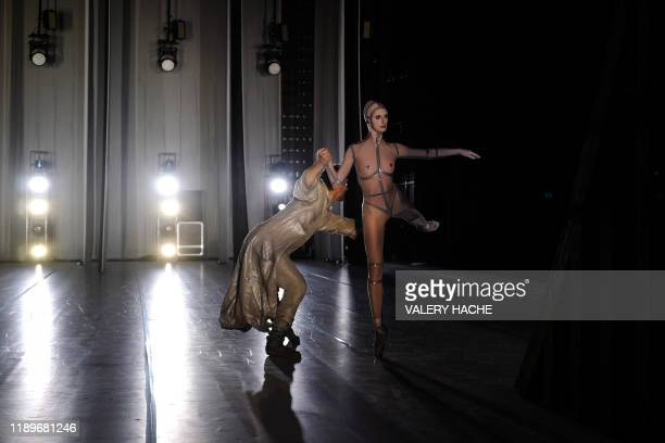 TOPSHOT Dancers of the MonteCarlo ballet attend in the backstage the rehearsal of the ballet show CoppeliA a creation by French dancer and...