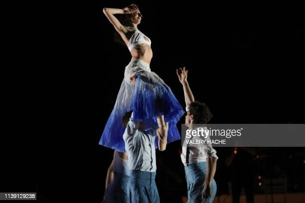 Dancers of the MonteCarlo ballet perform Jean Christophe Maillot's Core Meu a creation which is part of the Corpus show at the Grimaldi Forum in...