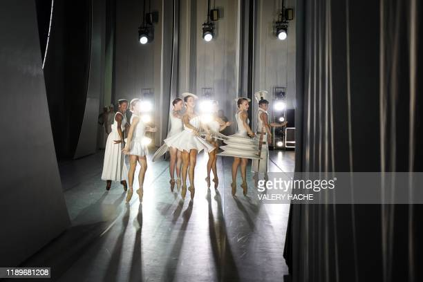 TOPSHOT Dancers of the MonteCarlo ballet rehearse on stage the ballet show CoppeliA a creation by French dancer and choreographer JeanChristophe...
