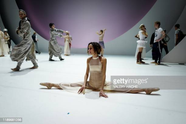 Dancers of the MonteCarlo ballet rehearse on stage the ballet show CoppeliA a creation by French dancer and choreographer JeanChristophe Maillot on...