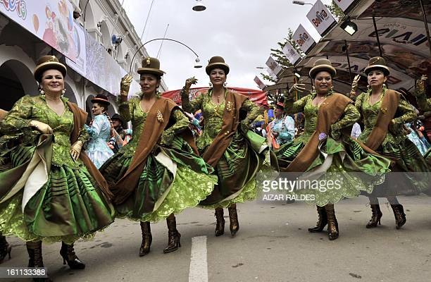 Dancers of the Morenada Central Cocanis de Oruro brotherhood take part in Carnival of Oruro in the mining town of Oruro 240 km south of La Paz on...