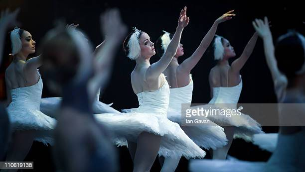 Dancers of the of the English National Ballet perform during a dress rehearsal of Swan Lake at the London Coliseum on March 22 2011 in London England