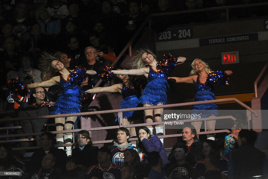 Dancers of the Oilers Octane entertain the crowd between plays in a game between the Edmonton Oilers and the Colorado Avalanche at Rexall Place on January 28, 2013 in Edmonton, Alberta, Canada.