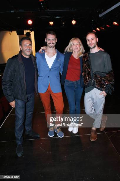 Dancers of the show Luciano Rosso and Alfonso Baron pose with Jose Garcia and his wife Isabelle Doval after the 'Un Poyo Rojo' Theater Play...