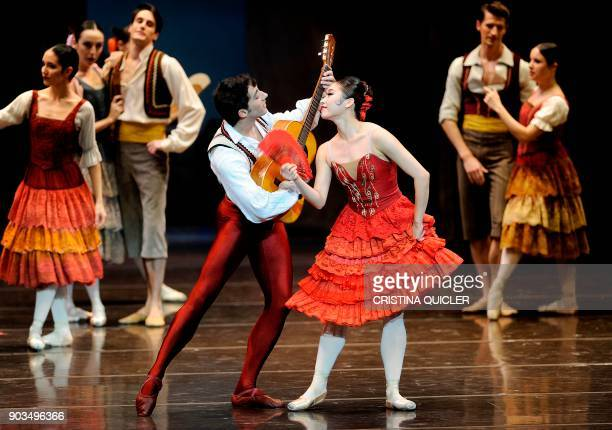 Dancers of The Spanish National Dance Company perform during a rehearsal ahead of the premiere of Don Quixote at the Theater of The Maestranza in...