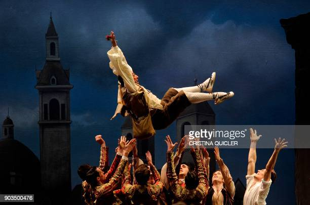 Dancers of The Spanish National Dance Company perform during a rehearsal ahead of the premiere of 'Don Quixote' at the Theater of The Maestranza in...