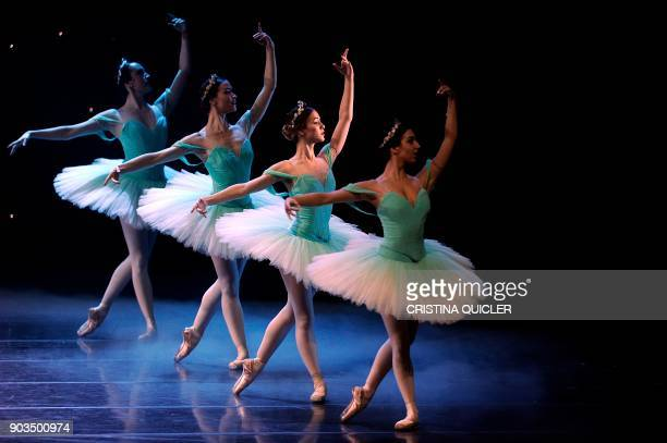 Dancers of The Spanish National Dance Company performs during a rehearsal ahead of the premiere of 'Don Quixote' at the Theater of The Maestranza in...