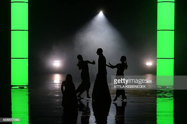 Dancers of the Yvette Bozsik Company perform on the stage of Arts' Palace in Budapest on November 12, 2014 during their rehearsal of Greek Sophocles'...