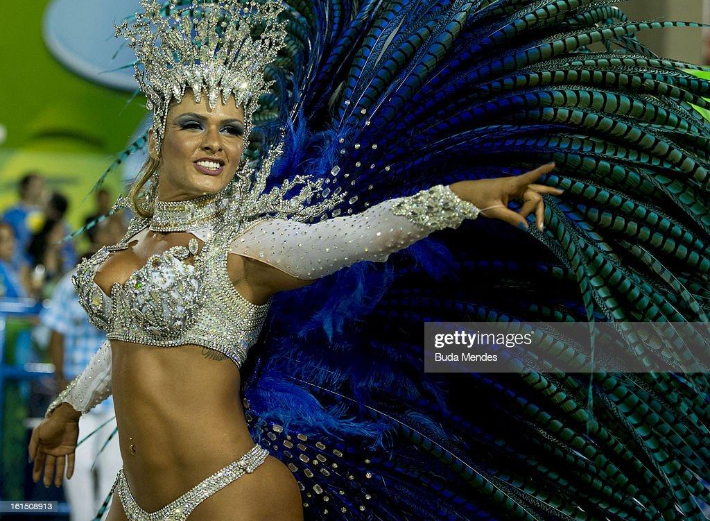 Dancers of Unidos de Vila Isabel during Carnival 2013 at Sambodrome Marques da Sapucai on February 12, 2013 in Rio de Janeiro, Brazil.
