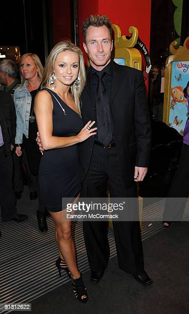 Dancers Ola Jordan and James Jordan attend the launch of iPod skins by Wrappz in aid of Children In Need at Hamleys on October 1 2009 in London...