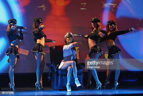 Dancers Olga Skrypnikova Shakeera Onstead Brittney Palmer Melania De Los Santos and Yulia Korigna perform during the X Burlesque show at the Flamingo...