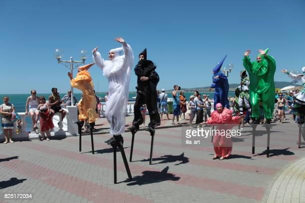 Gelendschik, Russland - 6. Juni 2015: Tänzer auf Karneval in Gelendschik.