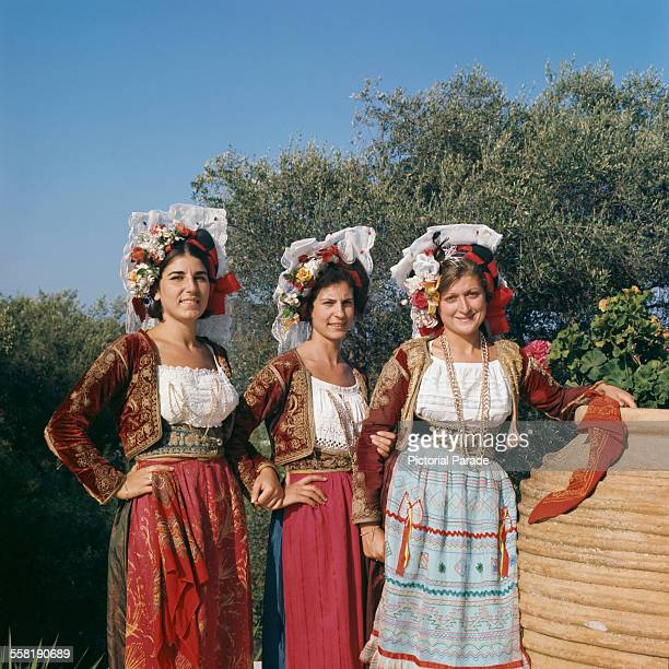 Dancers on Corfu Greece wearing the typical floral headdress circa 1965