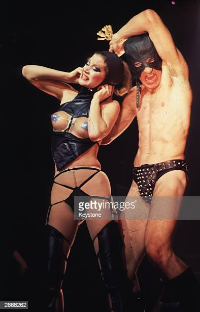 Dancers on stage with American pop group The Tubes The band became a media sensation on their British Tour with a series of banned performances