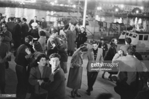 Dancers on the harbourside in Monaco after the wedding of American actress Grace Kelly and Rainier III Prince of Monaco 18th April 1956 Original...