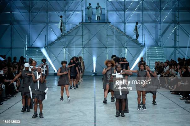 Dancers on the runway at the Rick Owens Spring Summer 2014 fashion show during Paris Fashion Week on September 26 2013 in Paris France