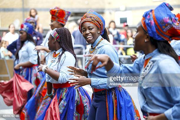 Dancers parade at Notting Hill Carnival in London England on Sunday August 30 2015 The Notting Hill Carnival is the largest street festival in Europe...