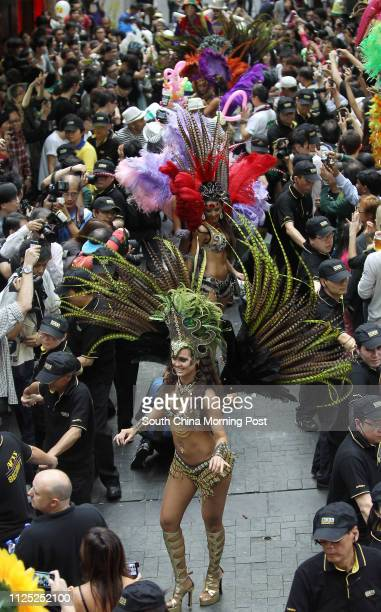 Dancers parade on Lan Kwai Fong Carnival in Central12NOV11