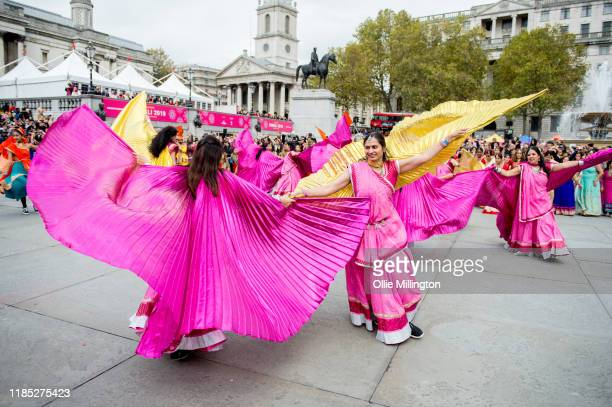 Dancers participate in the opening ceremony of The London Mayor's Diwali 2019 Celebrations the festival of victory of light over darkness good over...