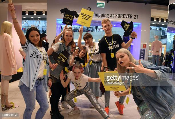 Dancers participate in the opening of Forever 21 shop on March 25, 2017 at Zlote Tarasy in Warsaw, Poland. The shop in Zlote Tarasy is the third shop...