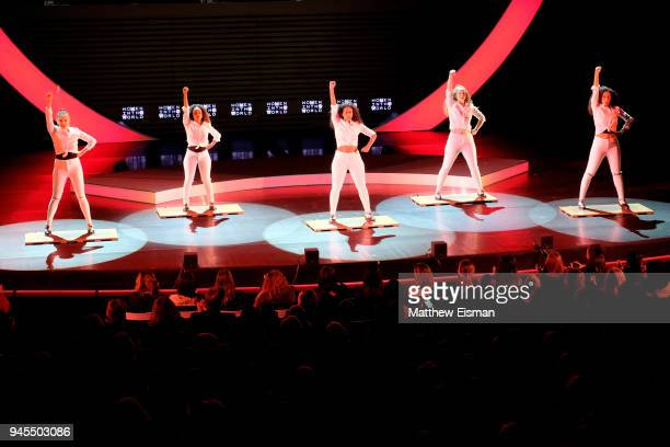 Dancers peform onstage during the 2018 Women In The World Summit at Lincoln Center on April 12 2018 in New York City