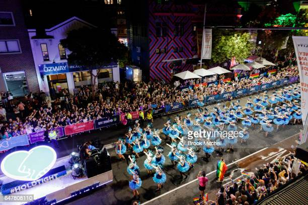 Dancers perfom during the 2017 Sydney Gay Lesbian Mardi Gras Parade on March 4 2017 in Sydney Australia The Sydney Mardi Gras parade is an annual...