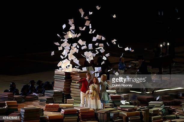 Dancers perform a celebration of Russian literature during the 2014 Sochi Winter Olympics Closing Ceremony at Fisht Olympic Stadium on February 23...
