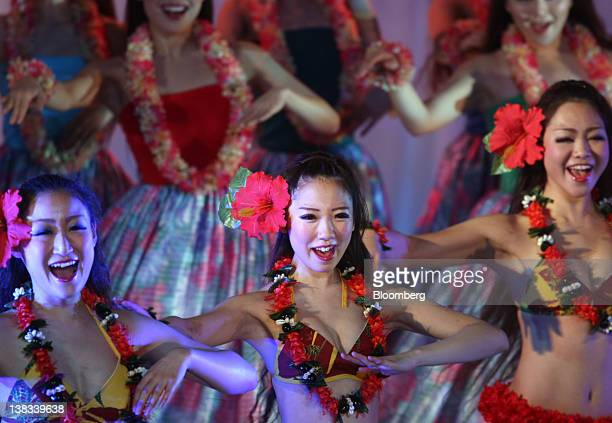 Dancers perform a Polynesian dance during a rehearsal for the reopening of the Spa Resort Hawaiians managed by Joban Kosan Co in Iwaki City Fukushima...