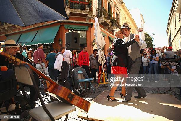 Dancers perform a Tango at Plaza Dorrego in San Telmo on September 8 2013 in Buenos Aires Argentina