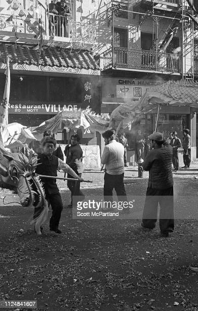 Dancers perform a traditional Dragon Dance during the annual Chinese New Year celebrations on Mott Street in the Chinatown neighborhood New York New...