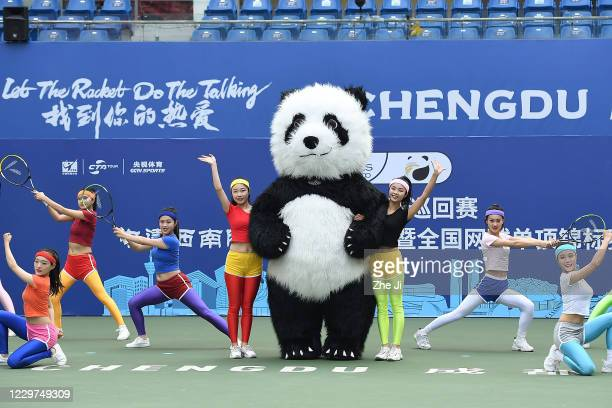 Dancers perform and Mascot Panda at the opening ceremony of the 2020 CTA Tour 800 & 1000 Finals - Chengdu Open on day 1 at Sichuan International...