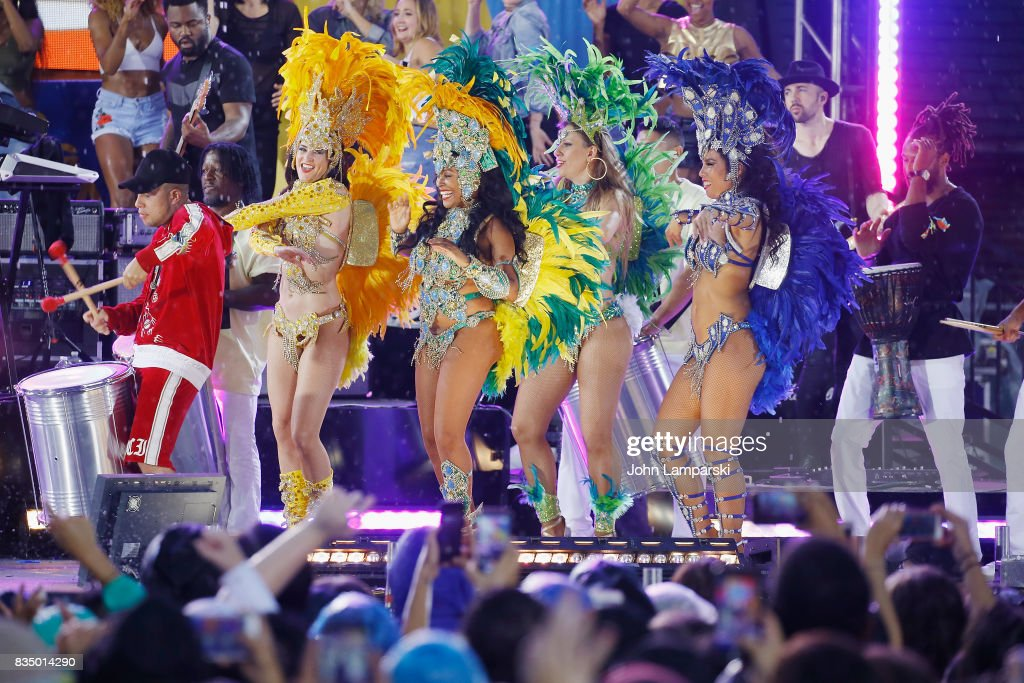 Dancers perform as Demi Lovato performs on ABC's 'Good Morning America' at Rumsey Playfield on August 18, 2017 in New York City.
