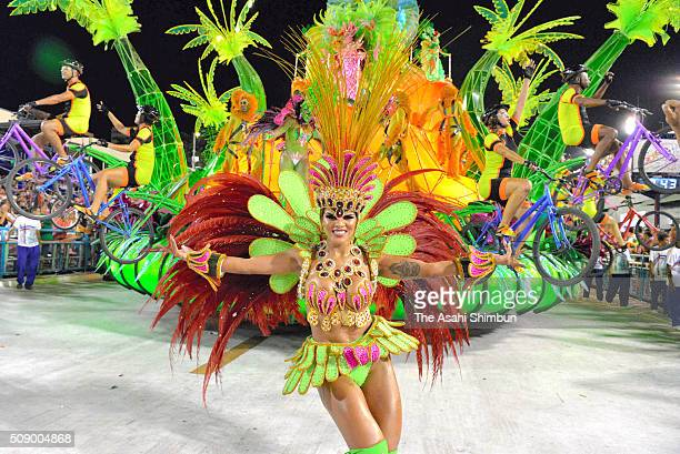 Dancers perform as the Rio Carnival continues on February 7 2016 in Rio de Janeiro Brazil Despite the Zika virus epidemic thousands of tourists...
