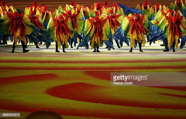 Dancers perform at the Olympic Wings segment during the Closing Ceremony on Day 16 of the Rio 2016 Olympic Games at Maracana Stadium on August 21...