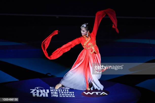 Dancers perform at the opening ceremony of the 2018 WTA Elite Trophy Zhuhai on day 1 at Hengqin Tennis Center on October 30 2018 in Zhuhai China