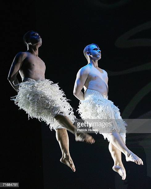 Dancers perform at the photocall and launch of the Australian tour of Matthew Bourne's Swan Lake at the Capitol Theatre on August 21 2006 in Sydney...