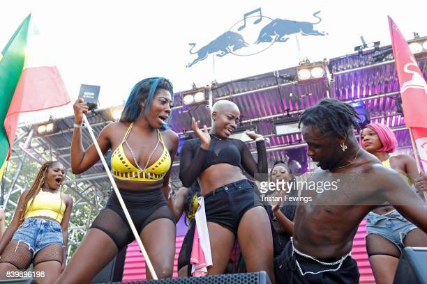 Dancers perfrom at the 'Red Bull Music Academy Soundsystem' at Notting Hill Carnival 2017 on August 27 2017 in London England