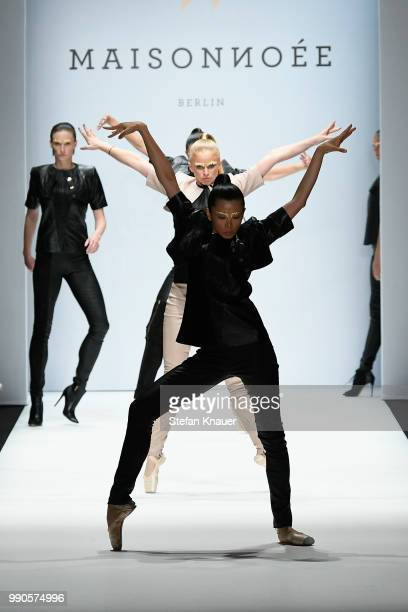 Dancers perform at the runway at the Maisonnoee show during the Berlin Fashion Week Spring/Summer 2019 at ewerk on July 3 2018 in Berlin Germany