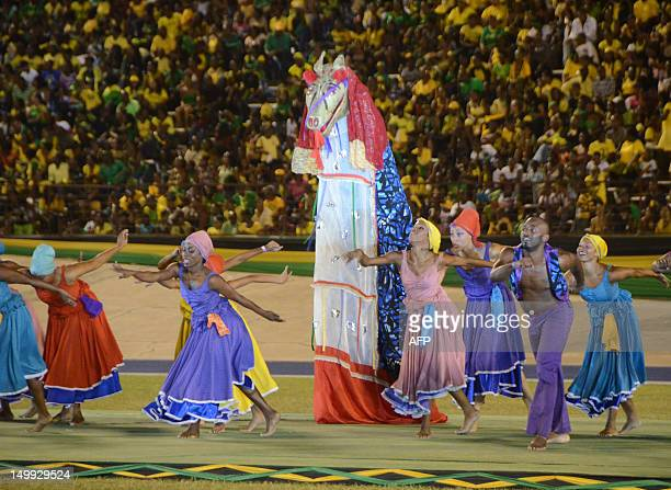 Dancers perform August 6 2012 during the Jamaica 50th Independence Grand Gala celebration at the National Stadium in Kingston Jamaica People across...